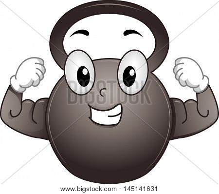 Mascot Illustration of a Kettle Bell Flexing its Biceps
