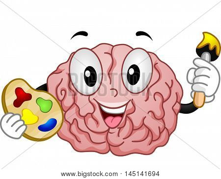 Mascot Illustration of a Brain Holding a Color Palette and a Paintbrush