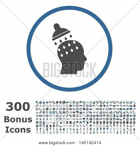 Brain Washing rounded icon with 300 bonus icons. Glyph illustration style is flat iconic bicolor symbols, cobalt and gray colors, white background.
