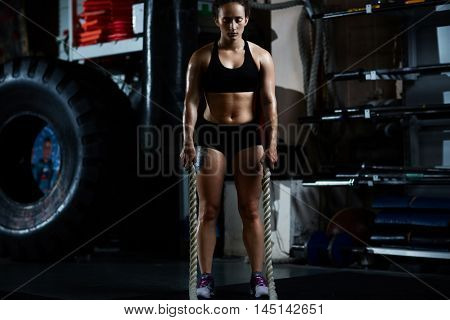 Woman in functional training gym
