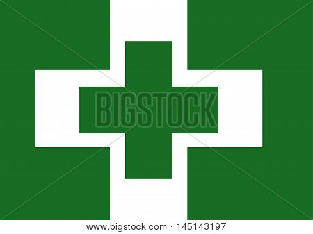 Vector of Japanese cultural flag of safety and health green cross over white cross on green background. Vector illustration flag design.