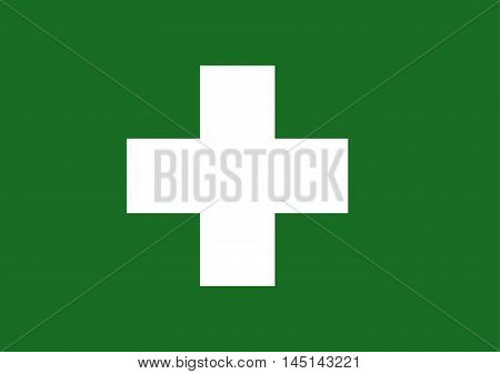 Vector of Japanese cultural flag of industrial health white cross on green background. Vector illustration flag design.