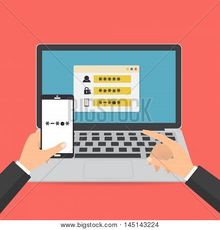 Human hand hold smart phone with sms code for log on the system on computer laptop password protected. Vector illustration computer security with two factor authentication concept.