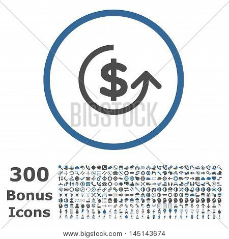 Chargeback rounded icon with 300 bonus icons. Glyph illustration style is flat iconic bicolor symbols, cobalt and gray colors, white background.