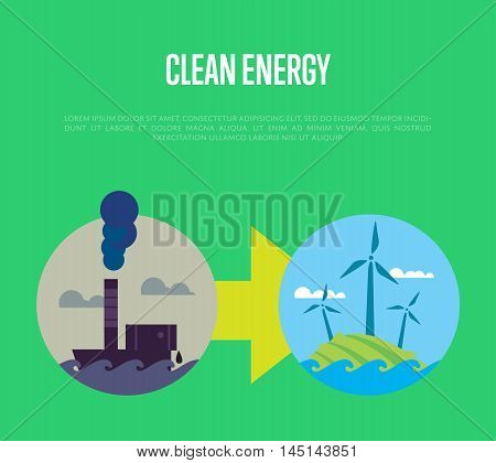 Vector illustration of evolution from industrial pollution to clean energy. Greening of the world banner. From heavy industry to save technology. Development green technology. Eco power concept
