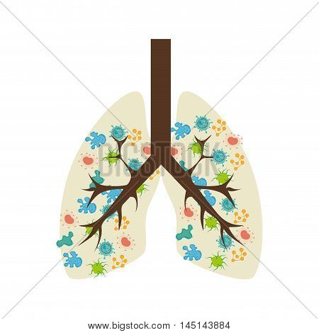lungs bacterium virus disease isolated vector illustration eps 10