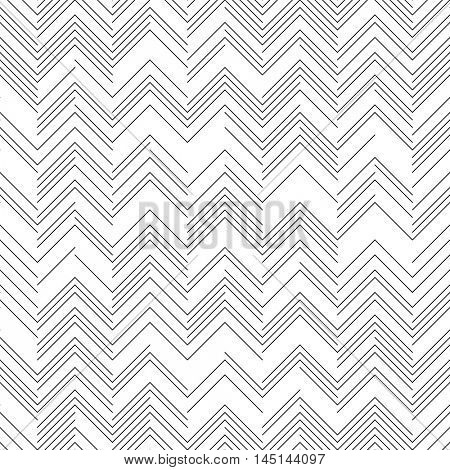 Seamless Zig Zag Pattern. Abstract  Black and White Background. Vector Chaotic Line Texture