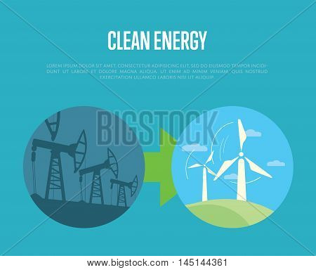 Vector illustration of evolution from industrial pollution to clean energy. Wind turbines in green field. Industrial machine for petroleum. Greening of the world banner. Development eco technology