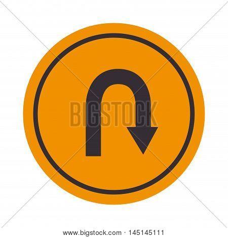signal turn around yellow design vector illustration eps 10