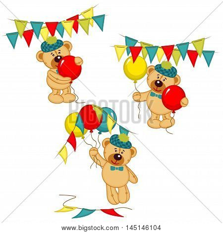 set of isolated teddy bear with balloons and garlands - vector illustration, eps