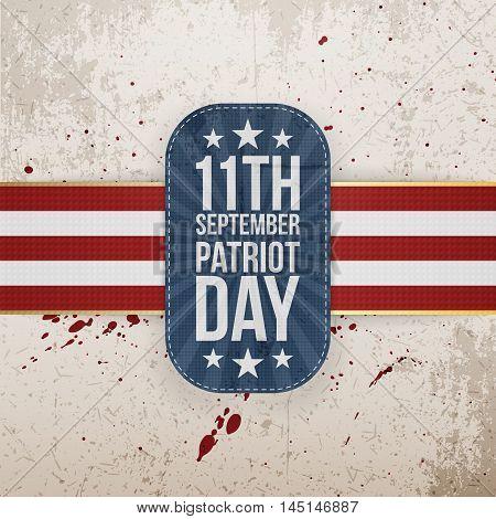 Patriot Day 11th September national Tag on grunge Background. Vector Illustration