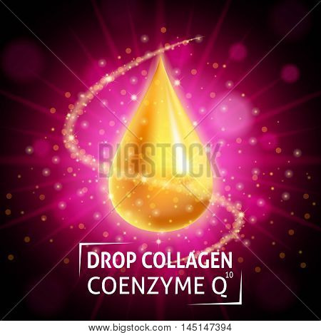 Serum Collagen Coenzyme Q10 realistic golden drop on a crimson background. Taking care of the skin. Anti age hyaluronic serum. Design cosmetics. Vector illustration.