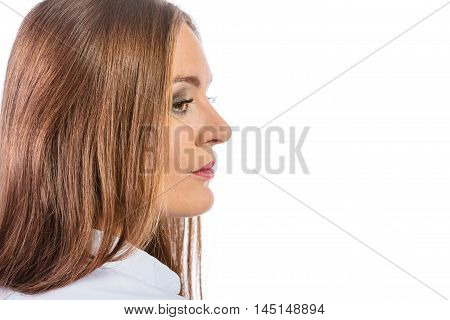 Career business work in offcie formal wear. Young woman worker present relaxed side view.