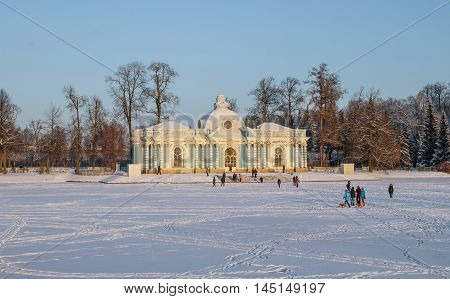 Pavilion Grotto on shore of Great Pond in Tsarskoye Selo. Built in Baroque style by architect Rastrelli in mid-18th century. Russia, Saint-Petersburg, Tsarskoye Selo. January 18, 2014