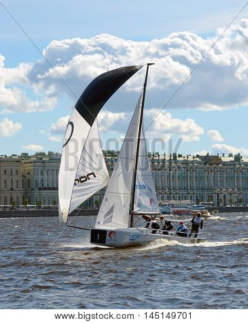 31.08.2016.Russia.Saint-Petersburg.The city hosted the international regatta in the waters of the river Neva.