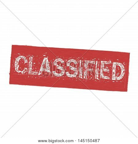 Classified white wording on Background red wood Board old