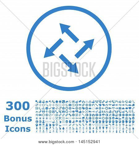 Centrifugal Arrows rounded icon with 300 bonus icons. Glyph illustration style is flat iconic symbols, cobalt color, white background.