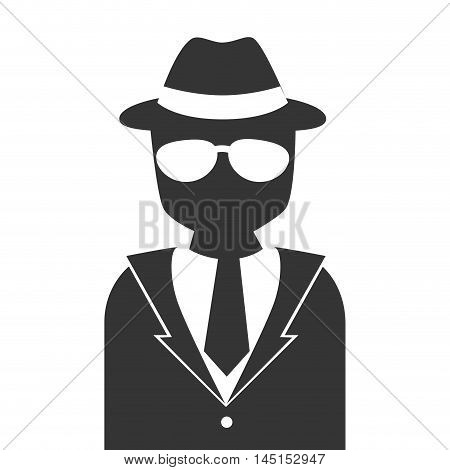 silhouette man detective hat glasses isolated vector illustration eps 10