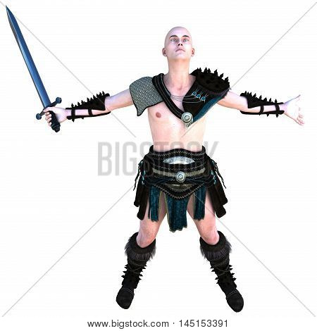 one young bald warrior in the Roman light armor. Barbaric. He's standing in a joyful posture of the winner. Hands apart in different directions. 3D rendering, 3D illustration