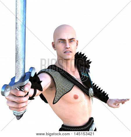 one young bald warrior in the Roman light armor. Barbaric. He is waiting for the block. Close to the camera. Bronze sword in his right hand. The emotions of aggression. 3D rendering, 3D illustration
