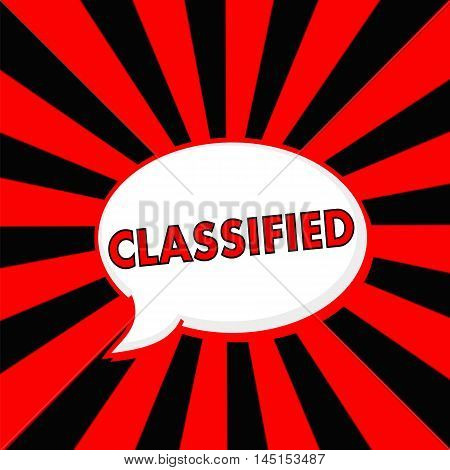 Classified Red wording Speech bubbles on Striped sun Red-Black background