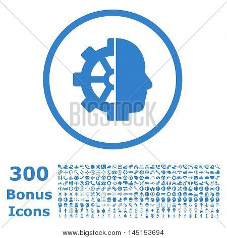 Cyborg Gear rounded icon with 300 bonus icons. Glyph illustration style is flat iconic symbols, cobalt color, white background.