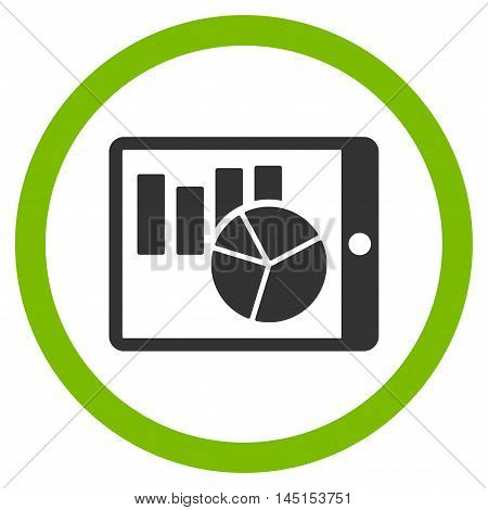 Charts on Pda vector bicolor rounded icon. Image style is a flat icon symbol inside a circle, eco green and gray colors, white background.