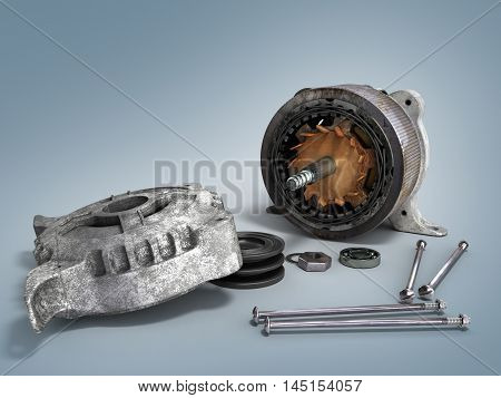The Concept Of Service Disassemble Electric Motor 3D Render Isolated On The Gradientbackground