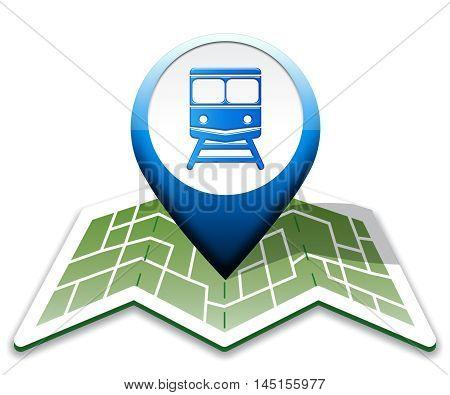 Train Map Indicates Intercity Journey 3D Illustration