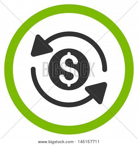 Money Turnover vector bicolor rounded icon. Image style is a flat icon symbol inside a circle, eco green and gray colors, white background.