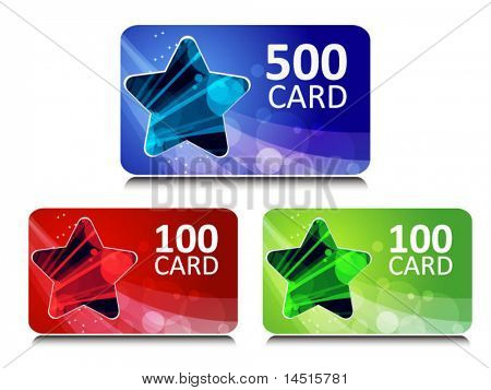 set of bonus and gift cards with star glowing background
