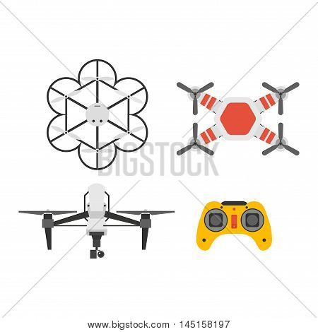 Air drone hovering wireless vehicle vector. Remote control drone set aircraft fly aerial camera.
