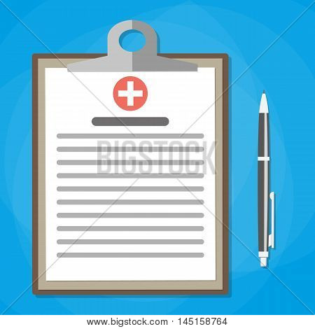 Clipboard and pen. Make notes in clipboard. medical report. analysis or prescription concept. vector illustration in flat style
