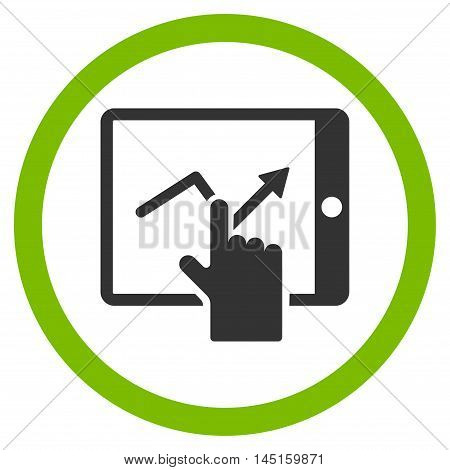 Tap Trend on Pda vector bicolor rounded icon. Image style is a flat icon symbol inside a circle, eco green and gray colors, white background.