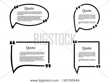 Set of frames isolated on white background. Speech frame for text. Quote text. Text quote frame. Vector illustration.