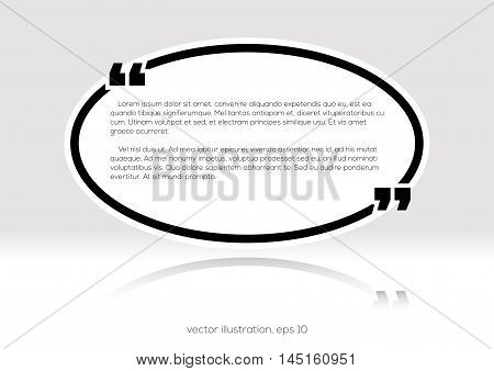 Oval black quote empty text box. Quote blank template. Ellipse business card template paper sheet information text. Print design. Quote form. Template vector set. Vector stock illustration