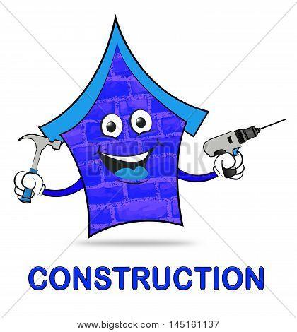 House Construction Means Real Estate Building 3D Illustration