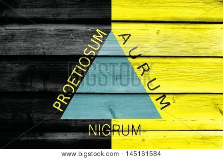 Flag Of Ouro Preto, Brazil, Painted On Old Wood Plank Background