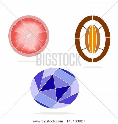 Vector illustration of logo for the theme of the precious stone.Isolated drawing consists of a shiny mineral ruby emerald sapphire,diamond on a white background.