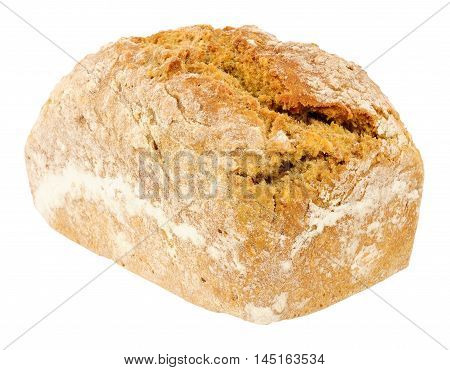Traditional Irish wheaten soda bread loaf isolated on a white background