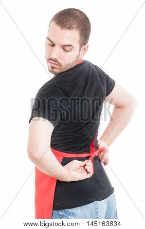 Handsome Seller Doing Knot At Apron