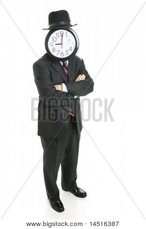 Full body isolated view of an anonymous businessman with a clock for a face.
