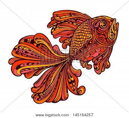 Ethnic orange  ornamented golden fish. seafood. Vector illustration