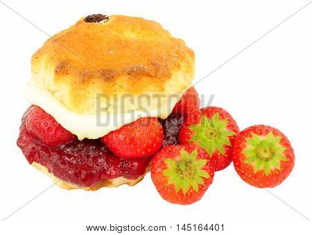 Fresh Strawberry and clotted cream scone with strawberry jam isolated on a white background