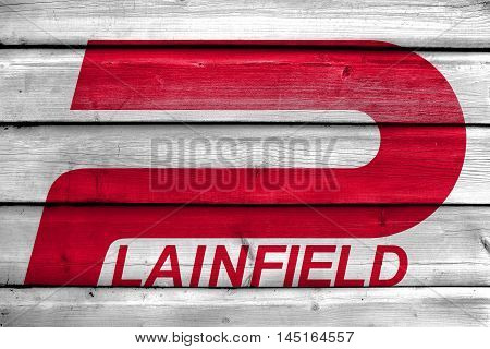Flag Of Plainfield, Indiana, Usa, Painted On Old Wood Plank Background