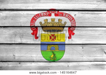 Flag Of Porto Alegre, Rio Grande Do Sul, Brazil, Painted On Old Wood Plank Background