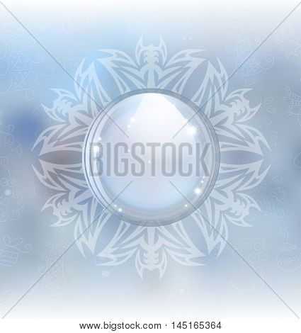 A vector illustration of a snow globe in a snowflake frame on the blurred background. Includes transparent objects, blending modes  and opacity masks.