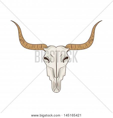 icon big horn bull skull isolated vector illustration eps 10
