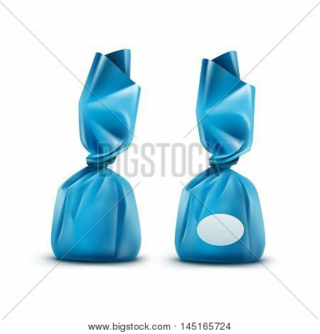 Vector Realistic Chocolate Candy in Light Blue Glossy Wrapper Close up Isolated on White Background