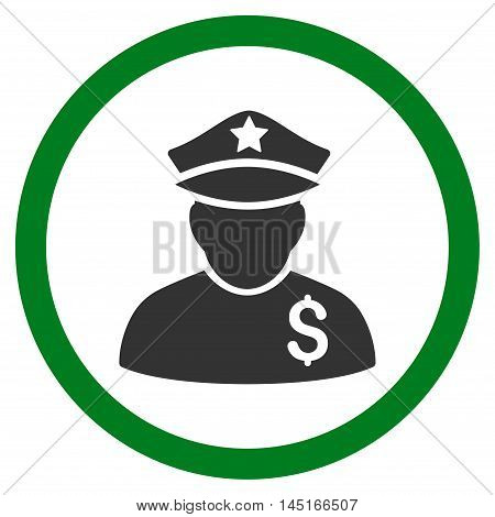 Financial Policeman vector bicolor rounded icon. Image style is a flat icon symbol inside a circle, green and gray colors, white background.